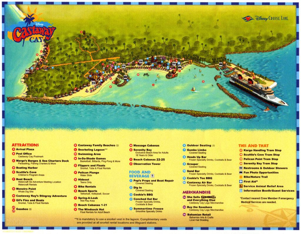 Família Itinerante - Disney Cruise Line - Mapa Castaway Cay Bahamas